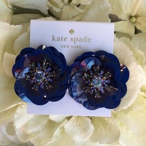 Kate Spade Navy Sequin Stud Earrings NWT